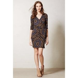 Anthropologie Wrap Dress Navy Print Stretch Sheath